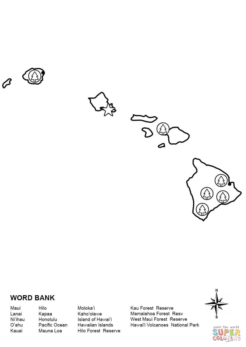 Hawaii Coloring Pages Printable