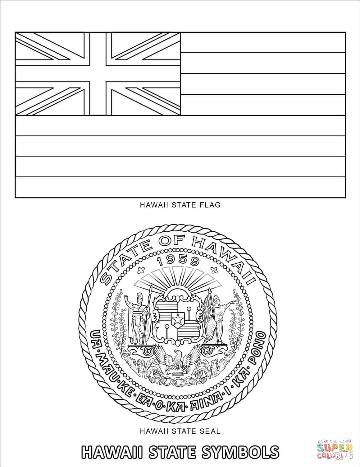 Hawaii State Symbols Coloring Page Free Printable Coloring Pages