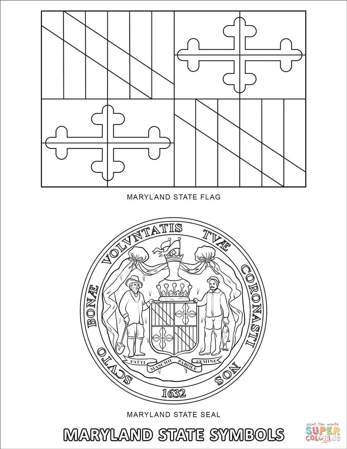 Maryland State Symbols Coloring Page Free Printable Coloring Pages