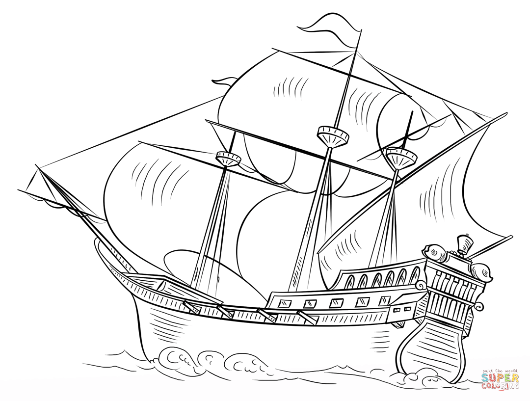 Spanish Galleon Coloring Page Free Printable Coloring Pages
