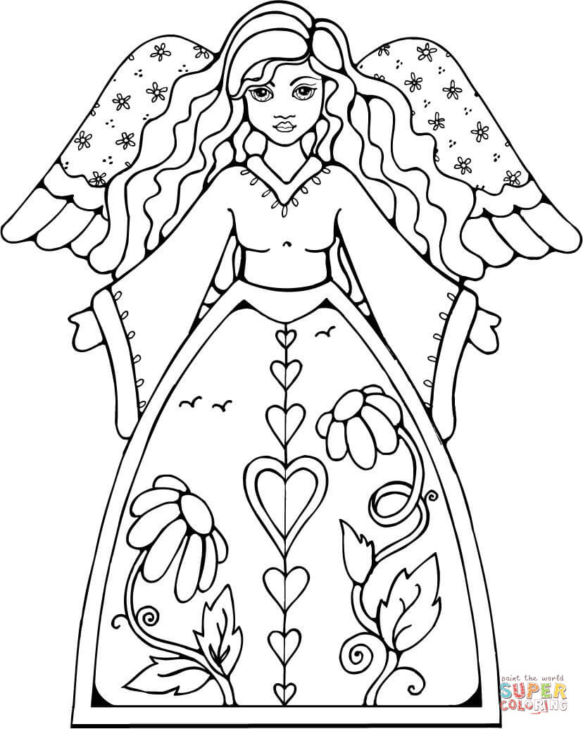 Christmas Angels Coloring Pages Free Coloring Pages