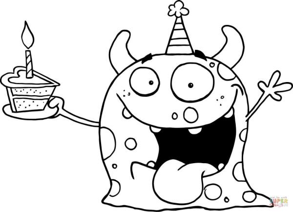cute monster coloring pages # 2