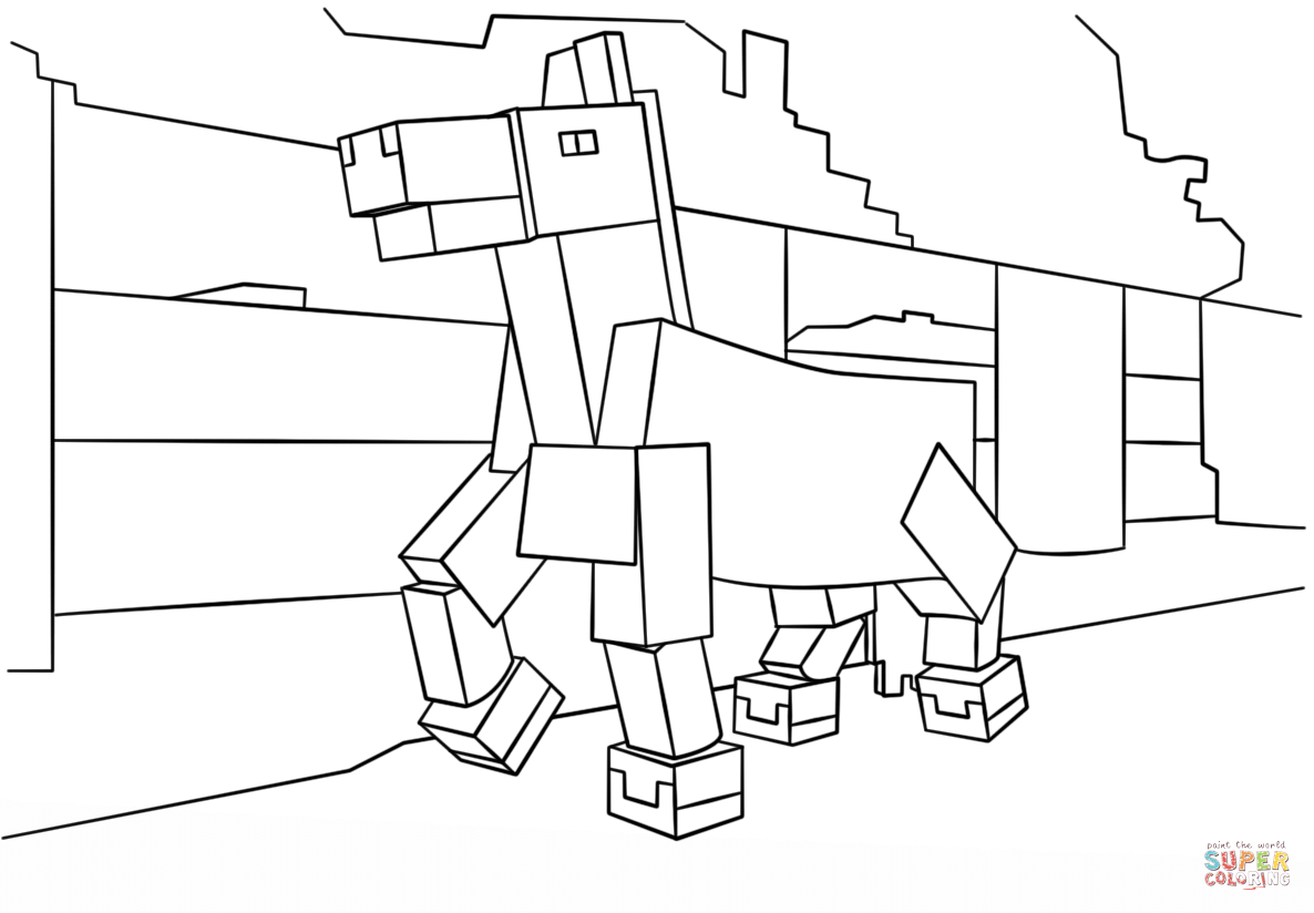 Minecraft Horse Coloring Page Free Printable Pages