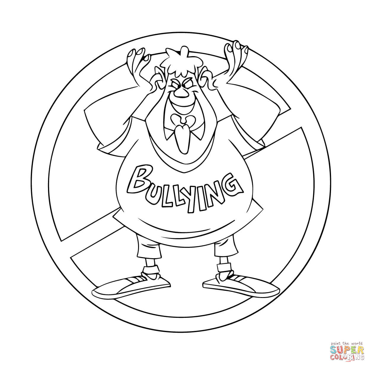 No To Bullying Troll Coloring Page Free Printable Coloring Pages