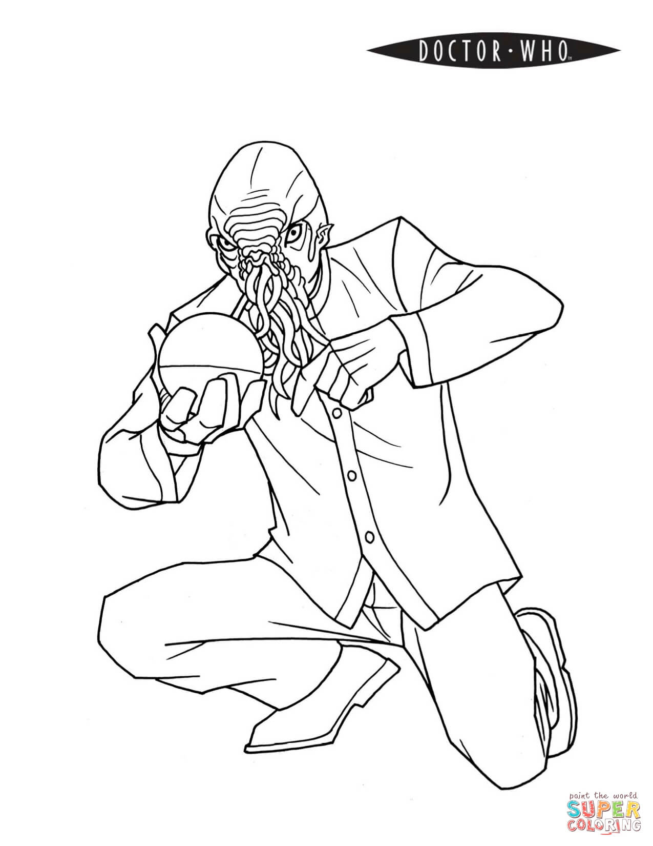 Ood Alien From Doctor Who Coloring Page Free Printable Coloring