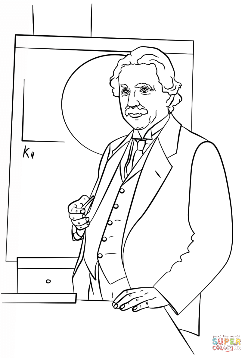 Free Coloring Pages Download Albert Einstein Page Printable Of