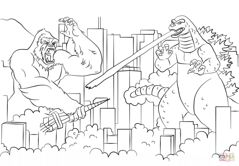 King Kong Vs Godzilla Coloring Page Free Printable Coloring Pages