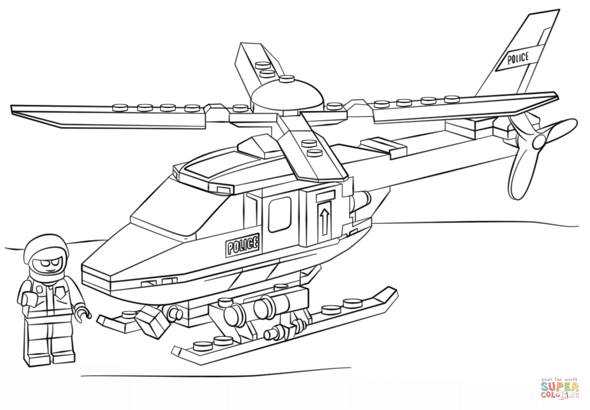 Lego Police Helicopter Coloring Page Free Printable Coloring Pages