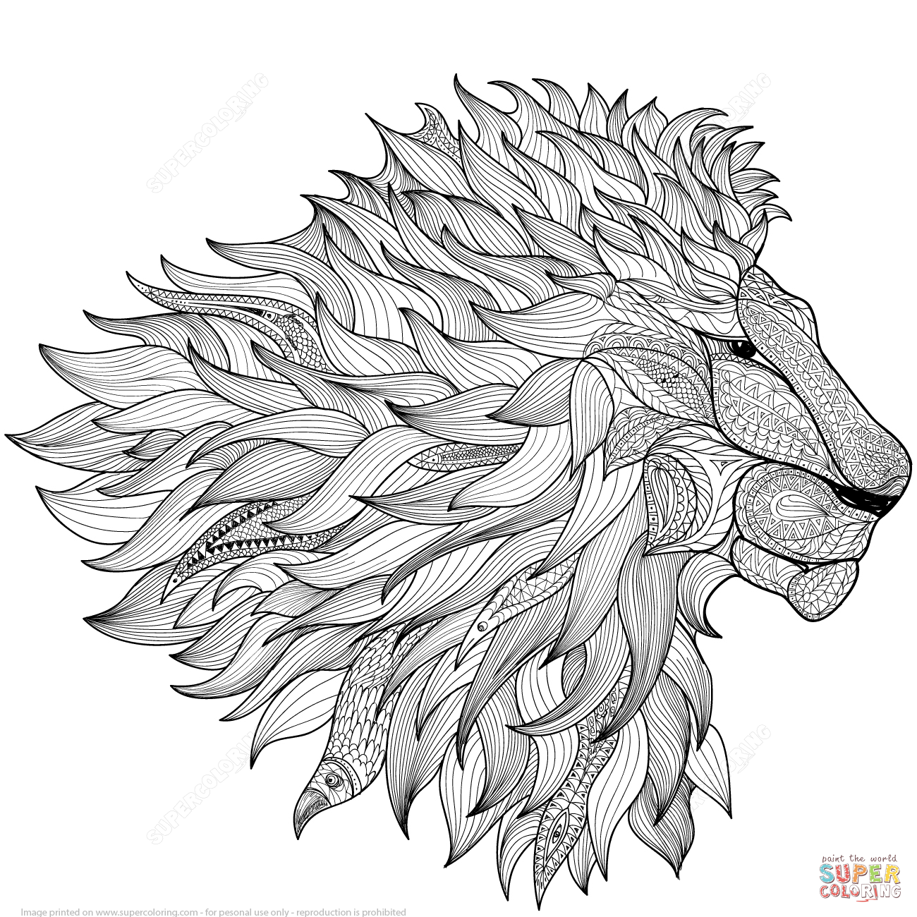 Lion Zentangle Coloring Page Free Printable Coloring Pages