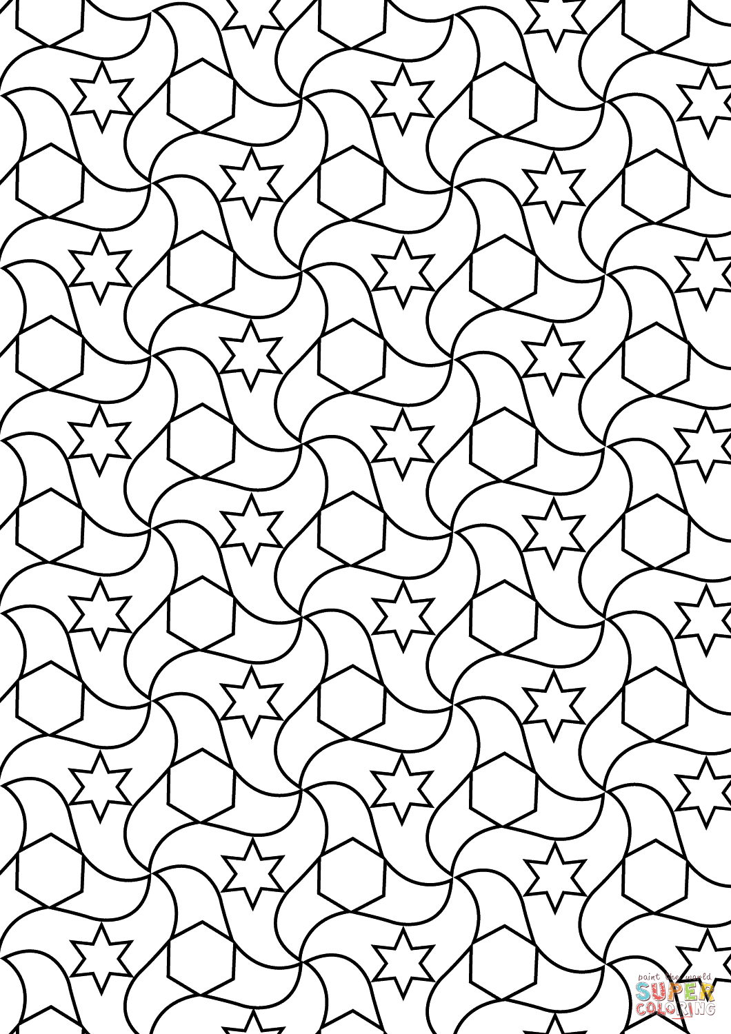 Alhambra Tessellations Coloring Page Free Printable Coloring Pages