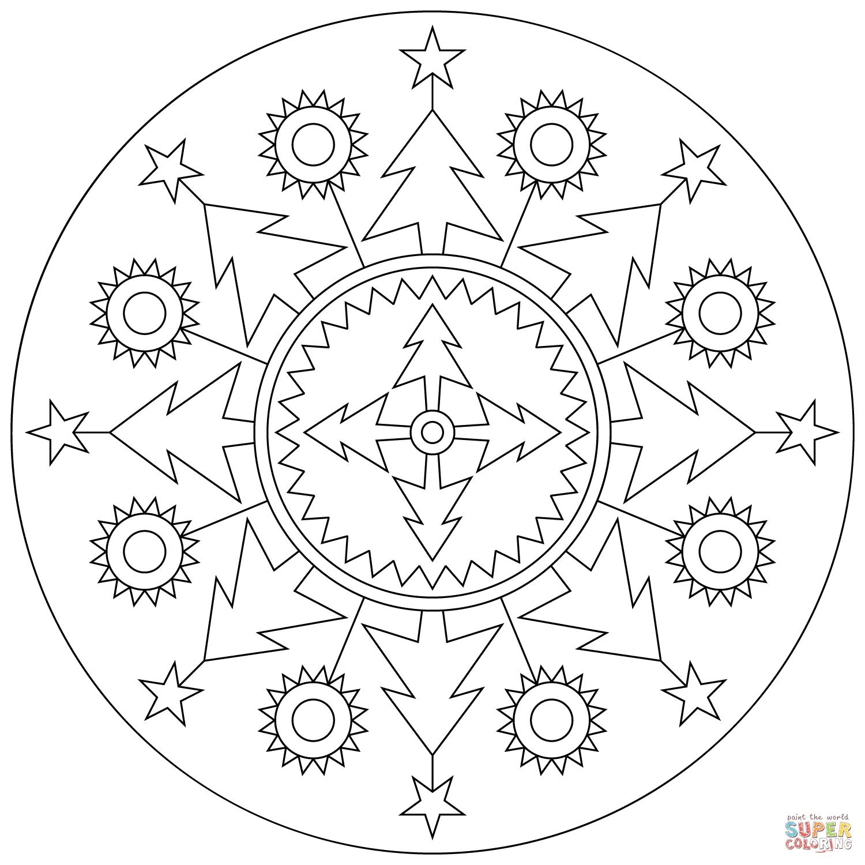 Christmas Mandala Coloring Page Free Printable Coloring Pages