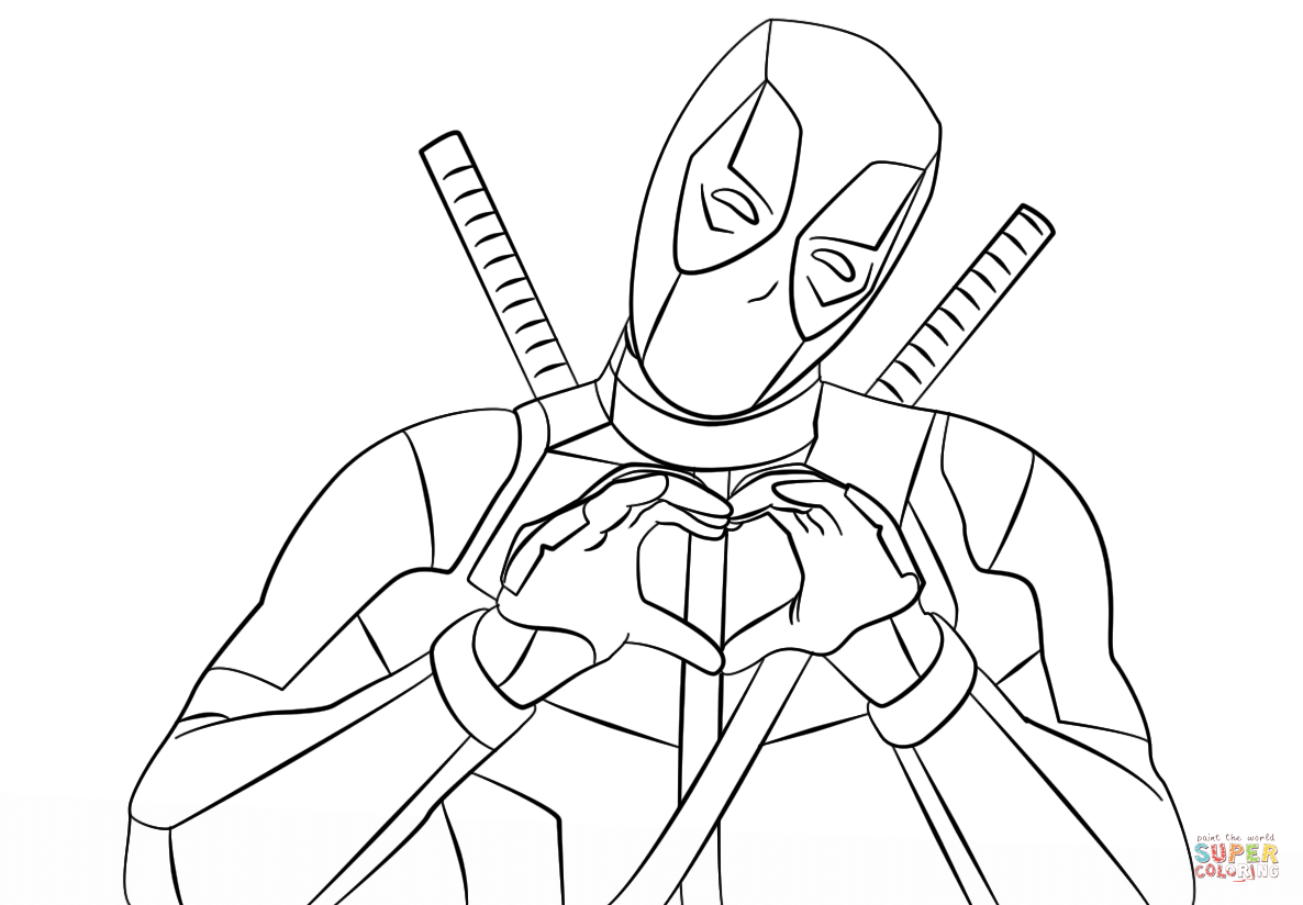Deadpool Making Heart Shape With Hands Coloring Page Free