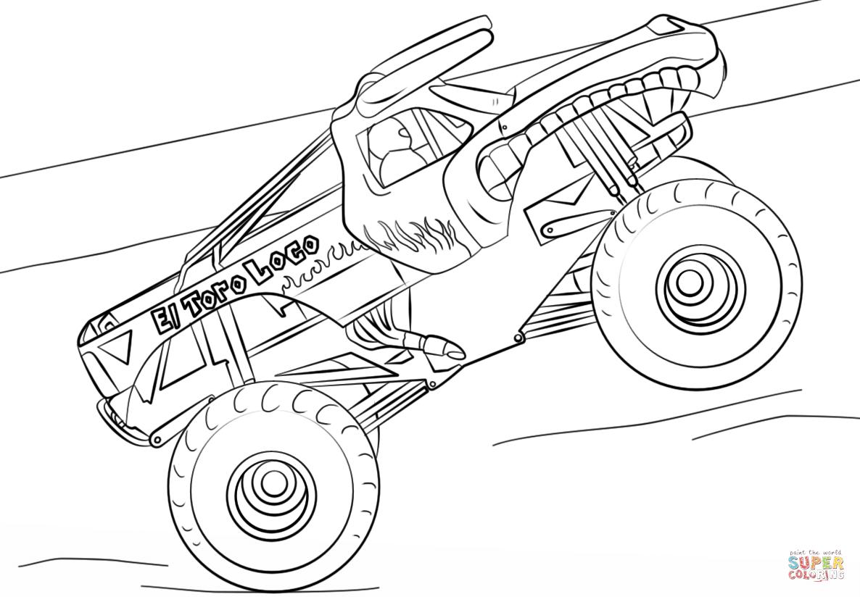 El Toro Loco Monster Truck Coloring Page Free Printable Coloring