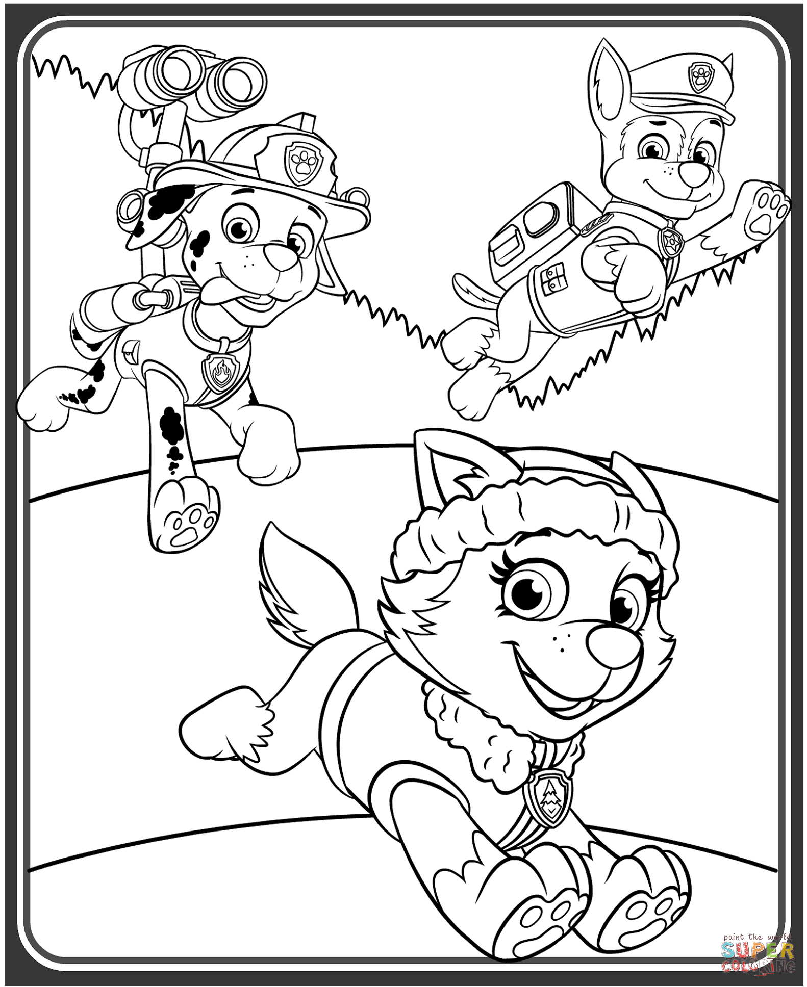Everest Marshall And Chase Coloring Page Free Printable