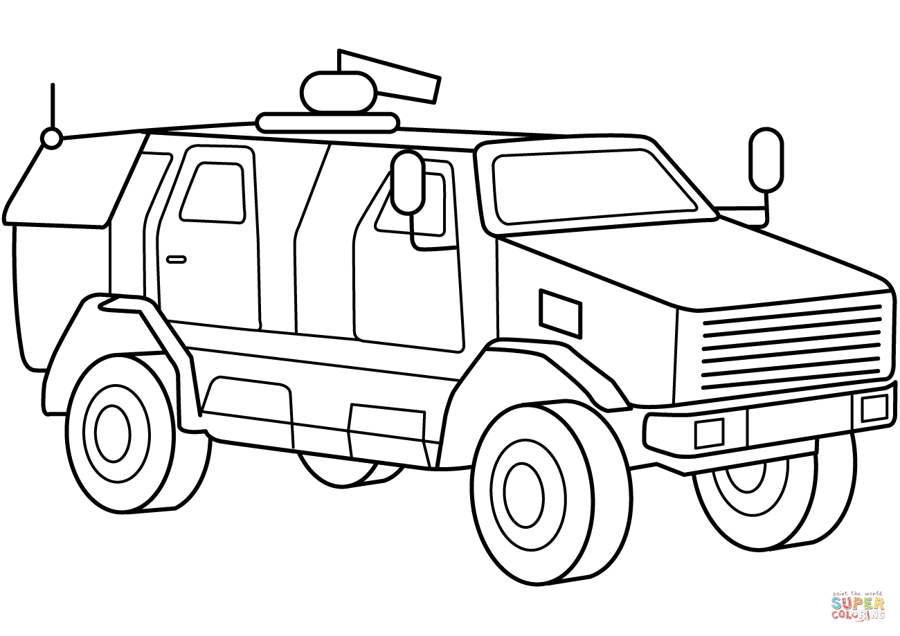 Military Armored Mrap Vehicle Coloring Page Free Printable