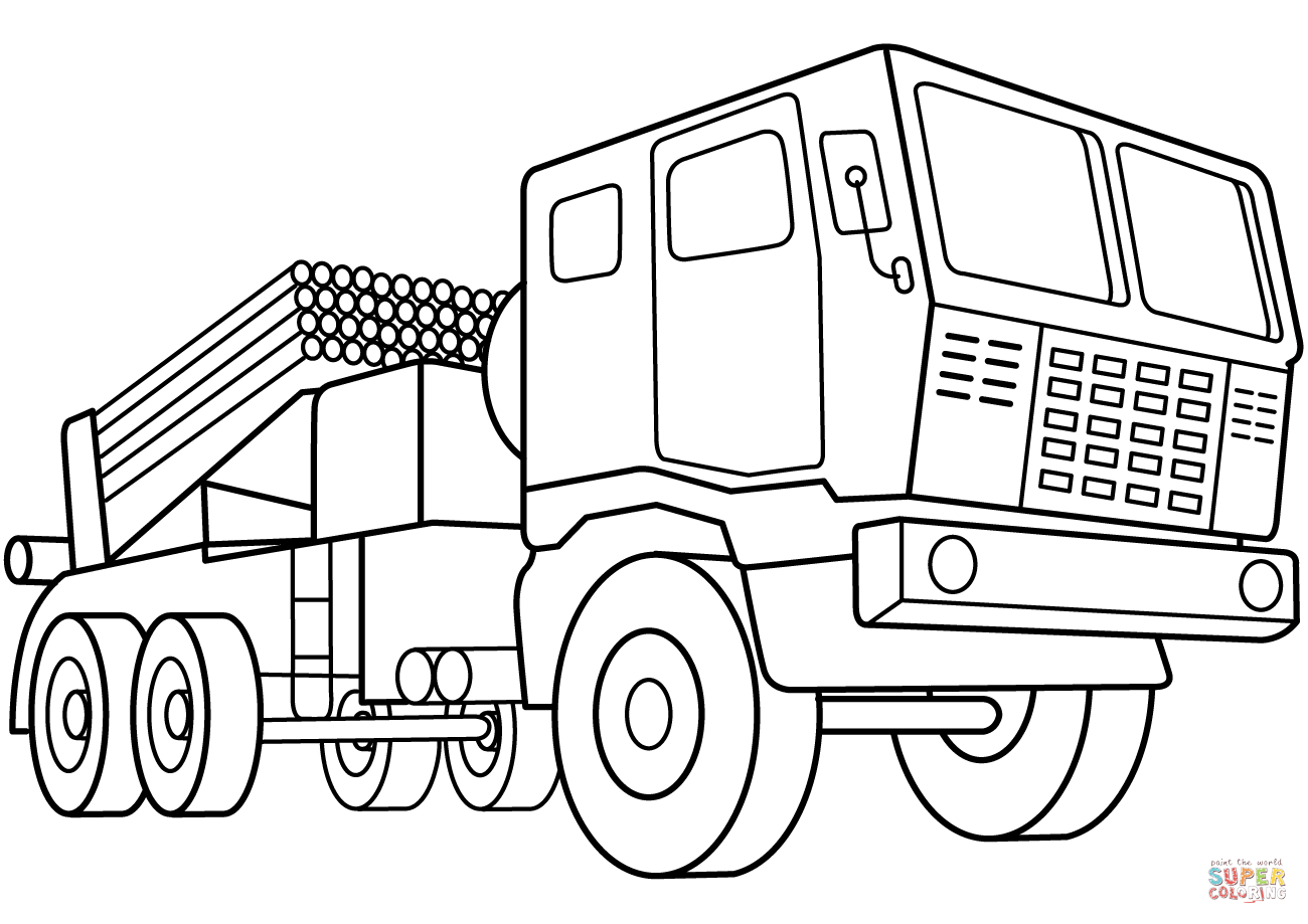 Multiple Rocket Launcher Vehicle Coloring Page Free Printable