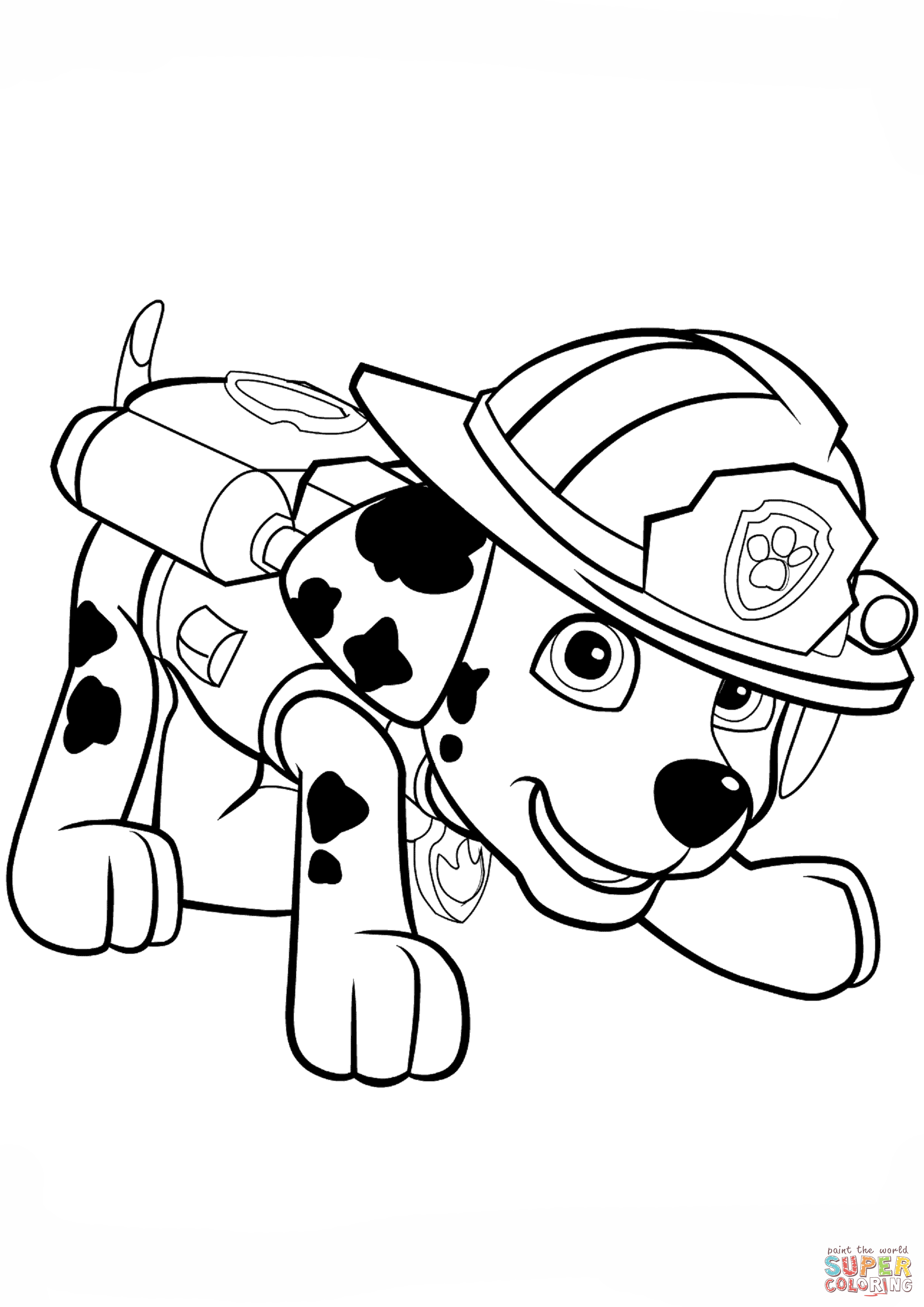Paw Patrol Marshall Puppy Coloring Page Free Printable Coloring