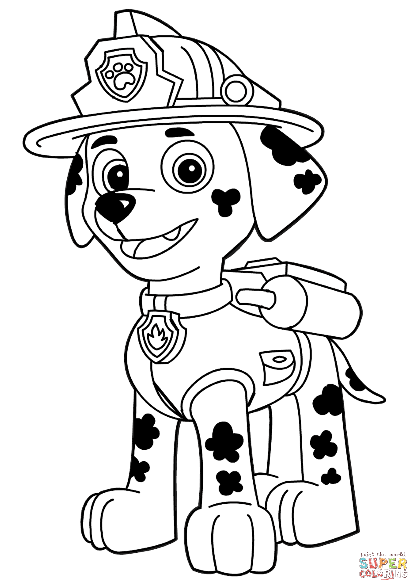 Paw Patrol Marshall Coloring Page Free Printable Coloring Pages
