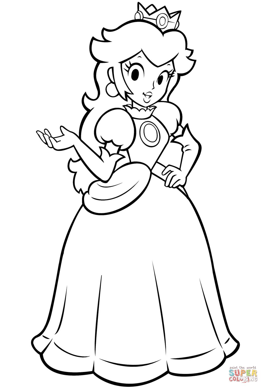 Mario Bros Princess Peach Coloring Page Free Printable Coloring