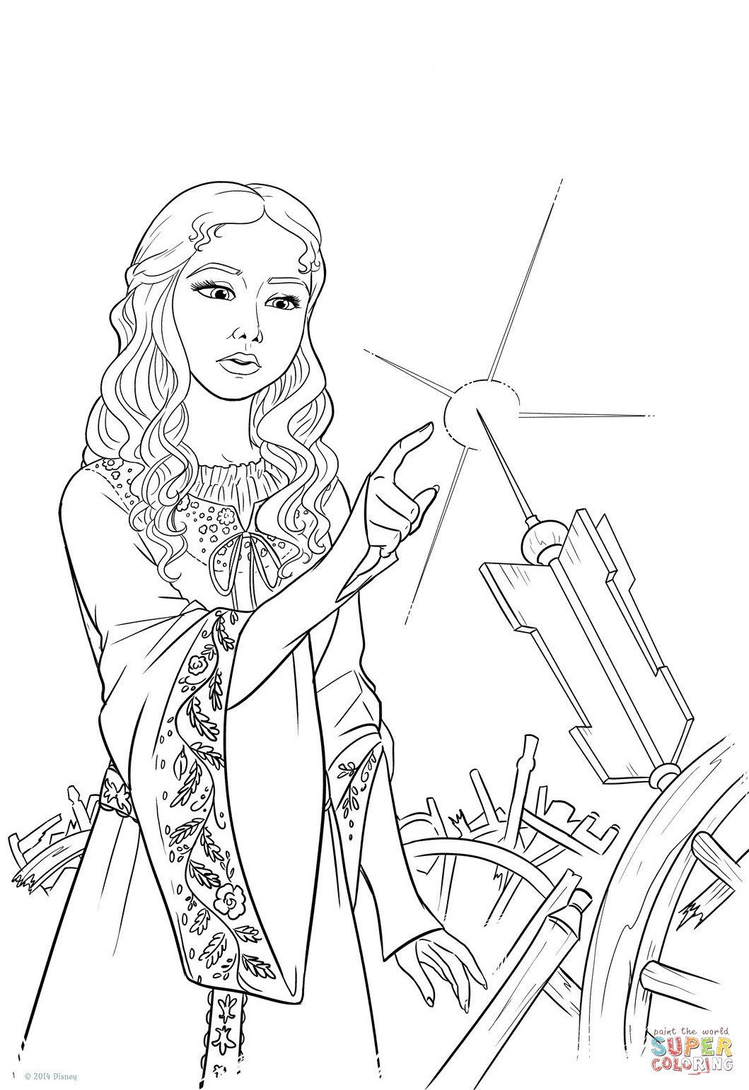 Princess Aurora Pricks Her Finger On The Spinning Wheel Coloring