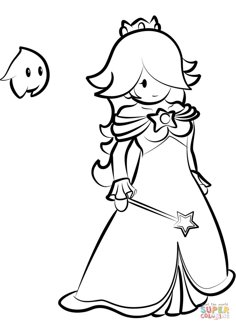 Rosalina With Luma Coloring Page Free Printable Coloring Pages