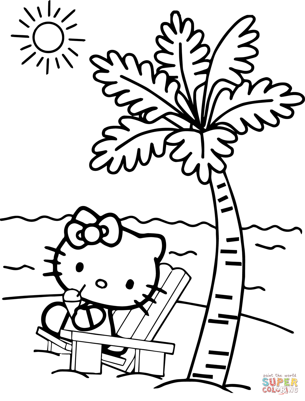 Hello Kitty At The Beach Coloring Page Free Printable Coloring Pages