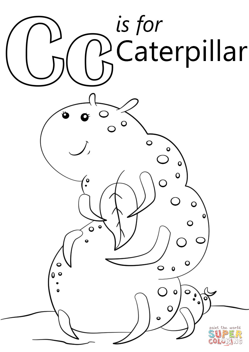 Letter C Is For Caterpillar Coloring Page Free Printable