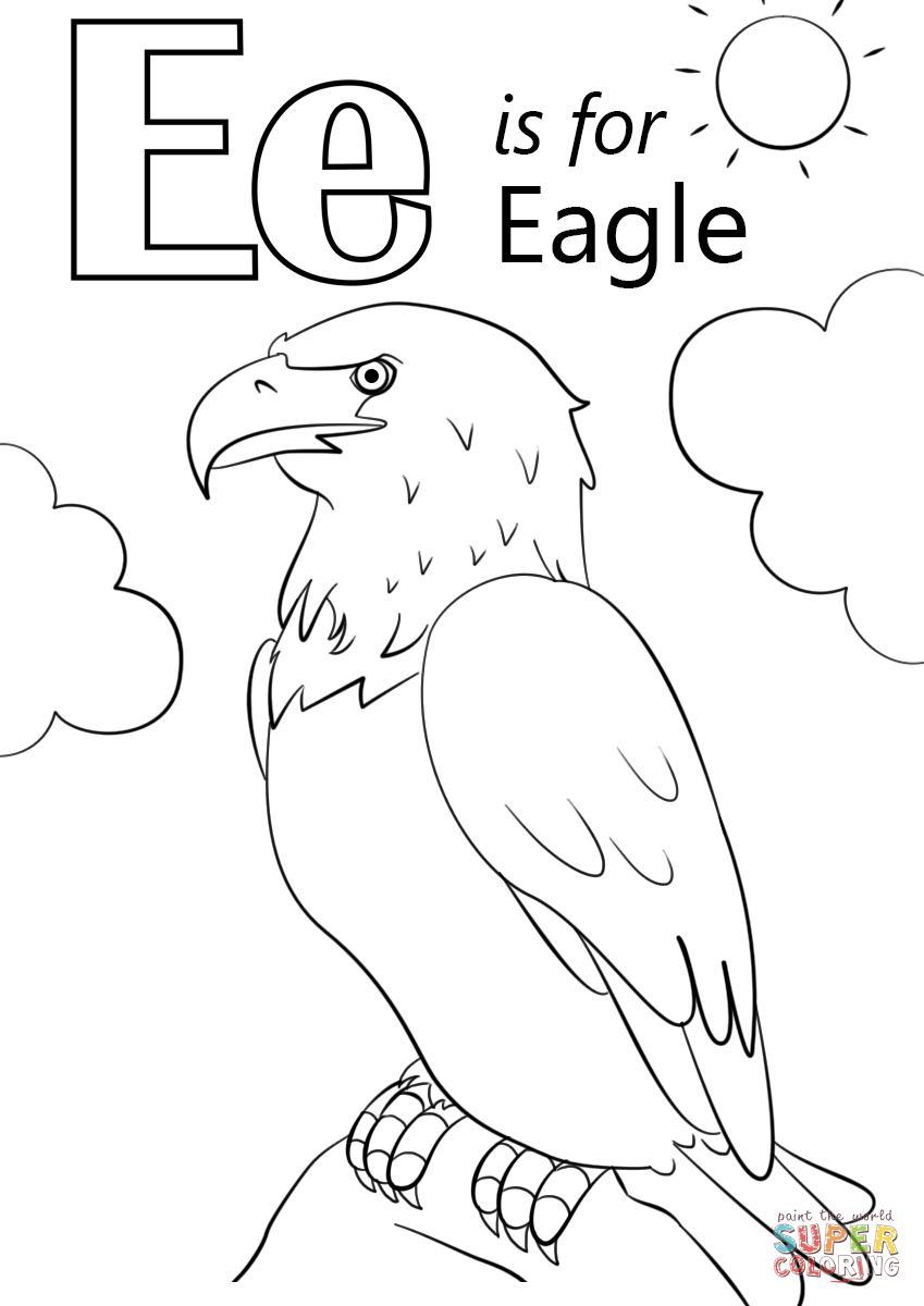 Letter E Is For Eagle Coloring Page Free Printable Coloring Pages
