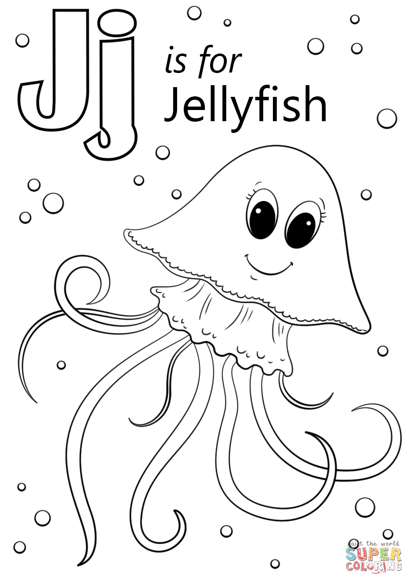 Letter J Is For Jellyfish Coloring Page Free Printable Coloring