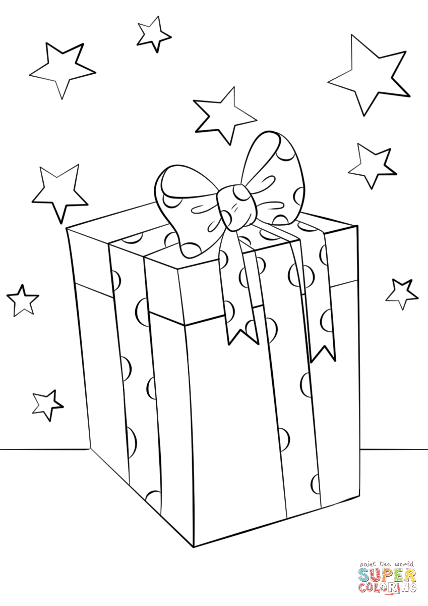 Christmas Gift Box Coloring Page Free Printable Coloring Pages