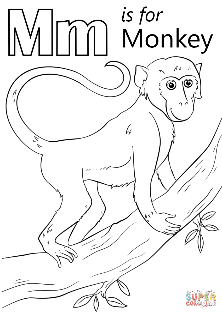 Letter M Is For Monkey Coloring Page Free Printable Coloring Pages
