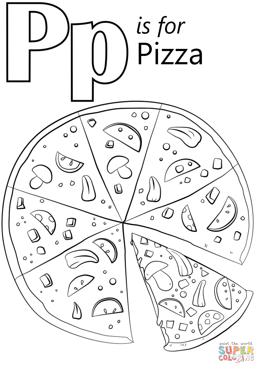 Free Coloring Pages Download Letter P Is For Pizza Page Printable