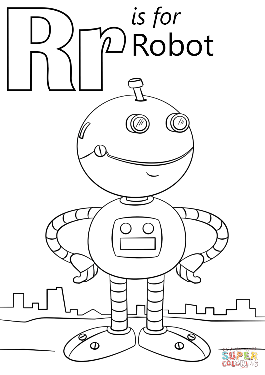 Letter R Is For Robot Coloring Page Free Printable Coloring Pages