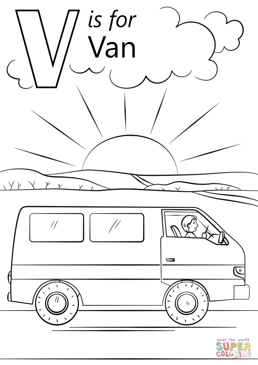 V Is For Van Coloring Page Free Printable Coloring Pages