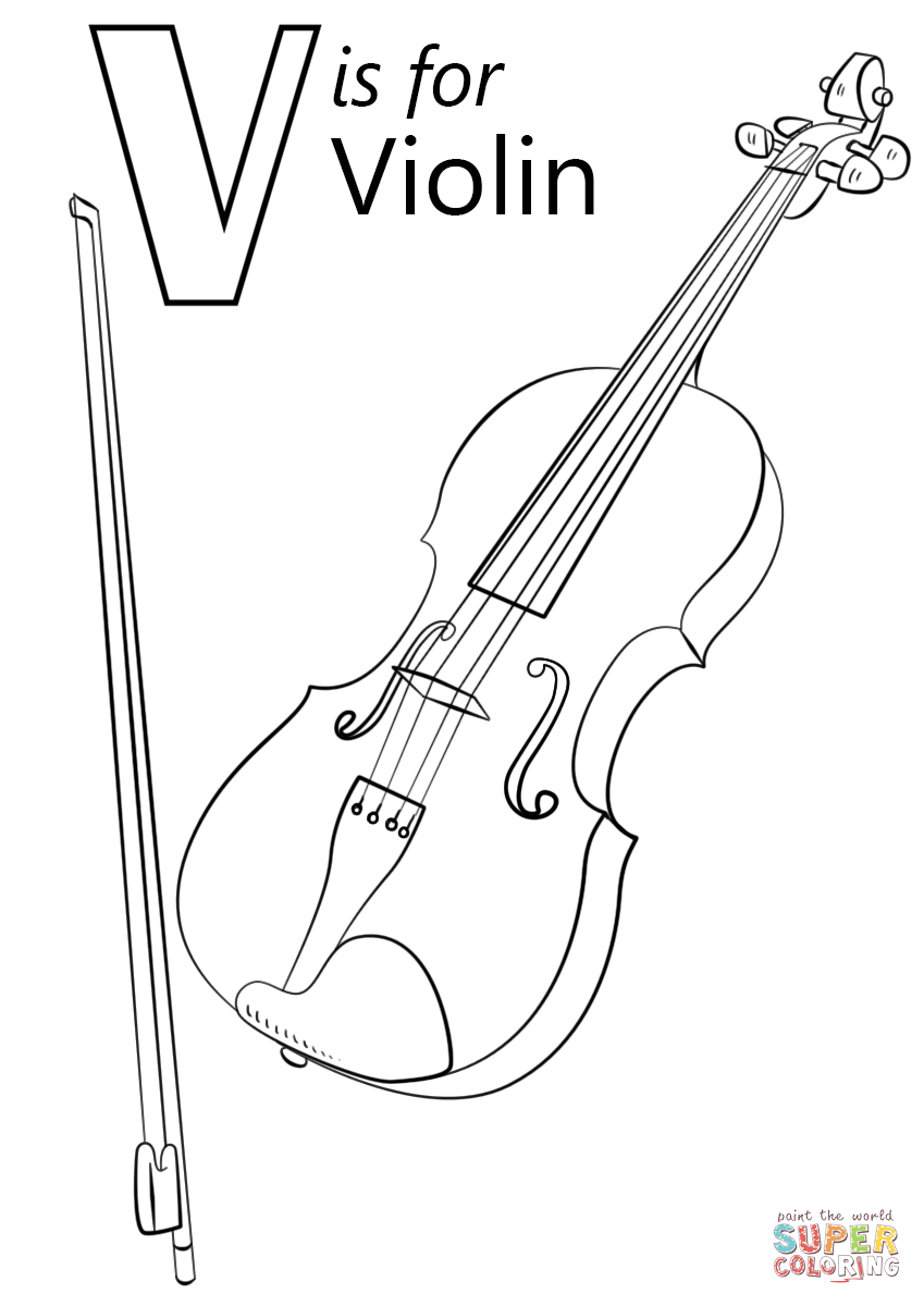 V Is For Violin Coloring Page Free Printable Coloring Pages