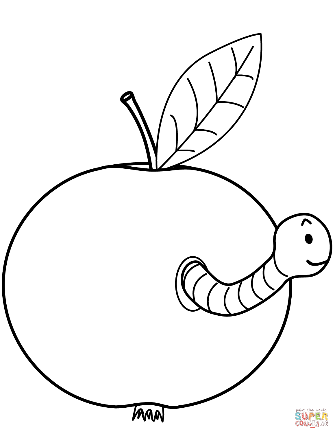 Worm Is Ing Out Of Apple Coloring Page Free Printable
