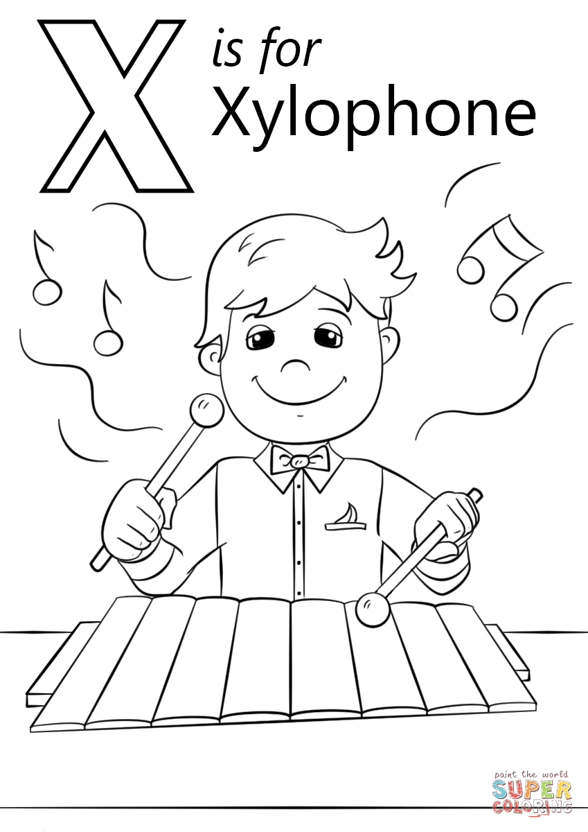 Letter X Is For Xylophone Coloring Page Free Printable Coloring