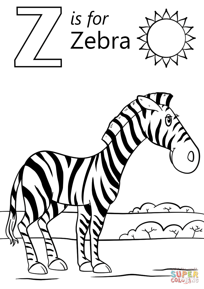Letter Z Is For Zebra Coloring Page Free Printable Coloring Pages