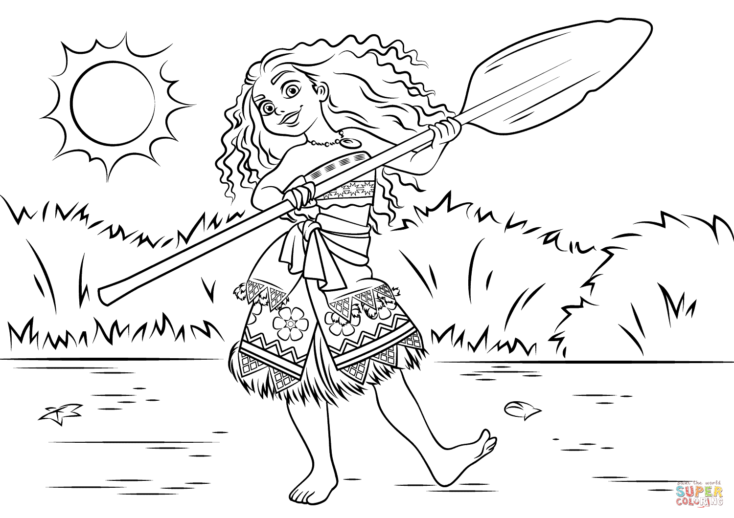 Princess Moana Waialiki Coloring Page Free Printable Coloring Pages