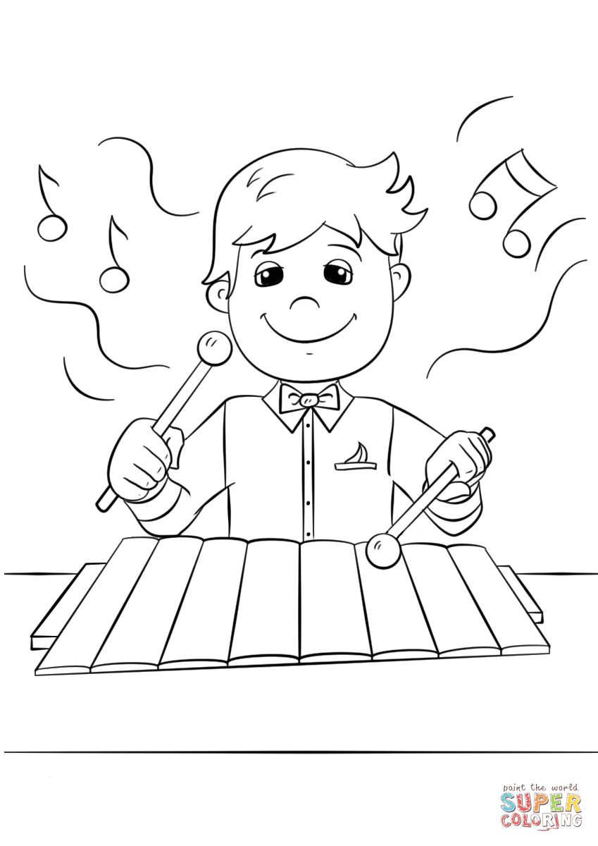 Boy Playing Xylophone Coloring Page Free Printable Coloring Pages