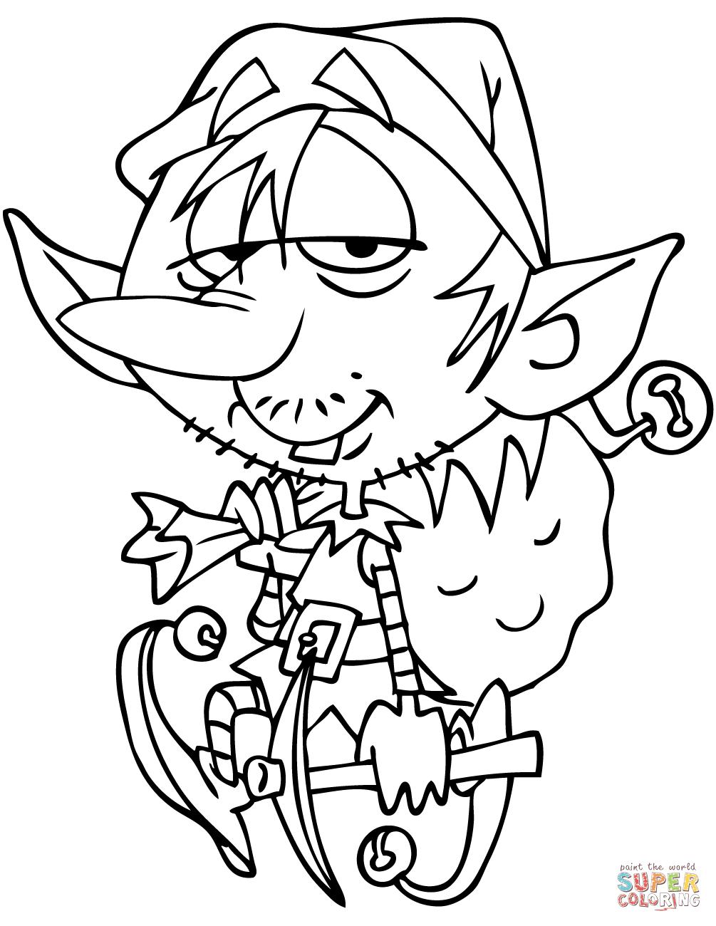 Cartoon Elf Carrying Santa Bag Coloring Page Free Printable