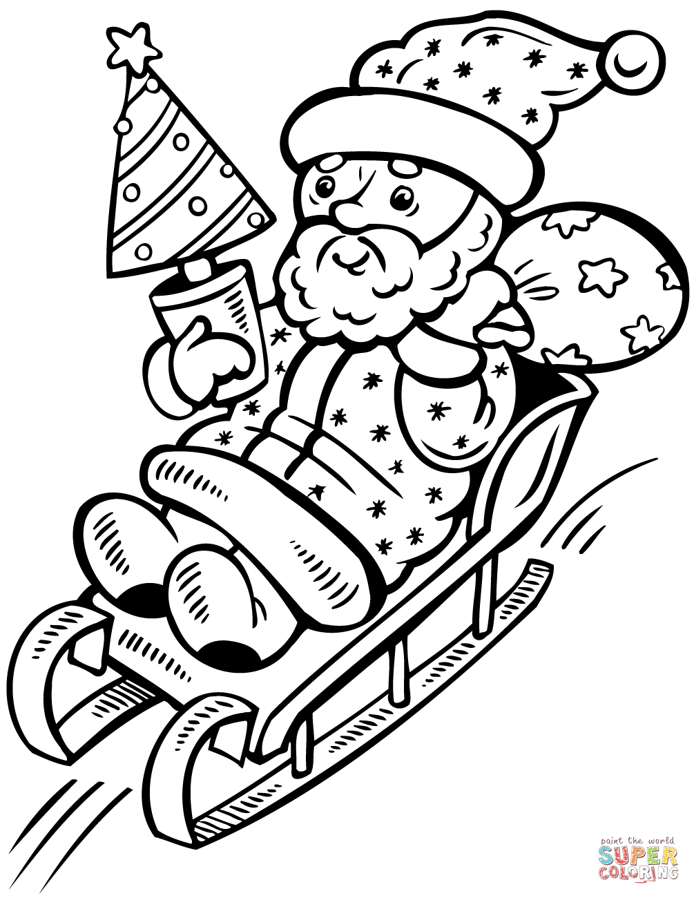Santa Claus On Sleigh With Christmas Tree Coloring Page Free