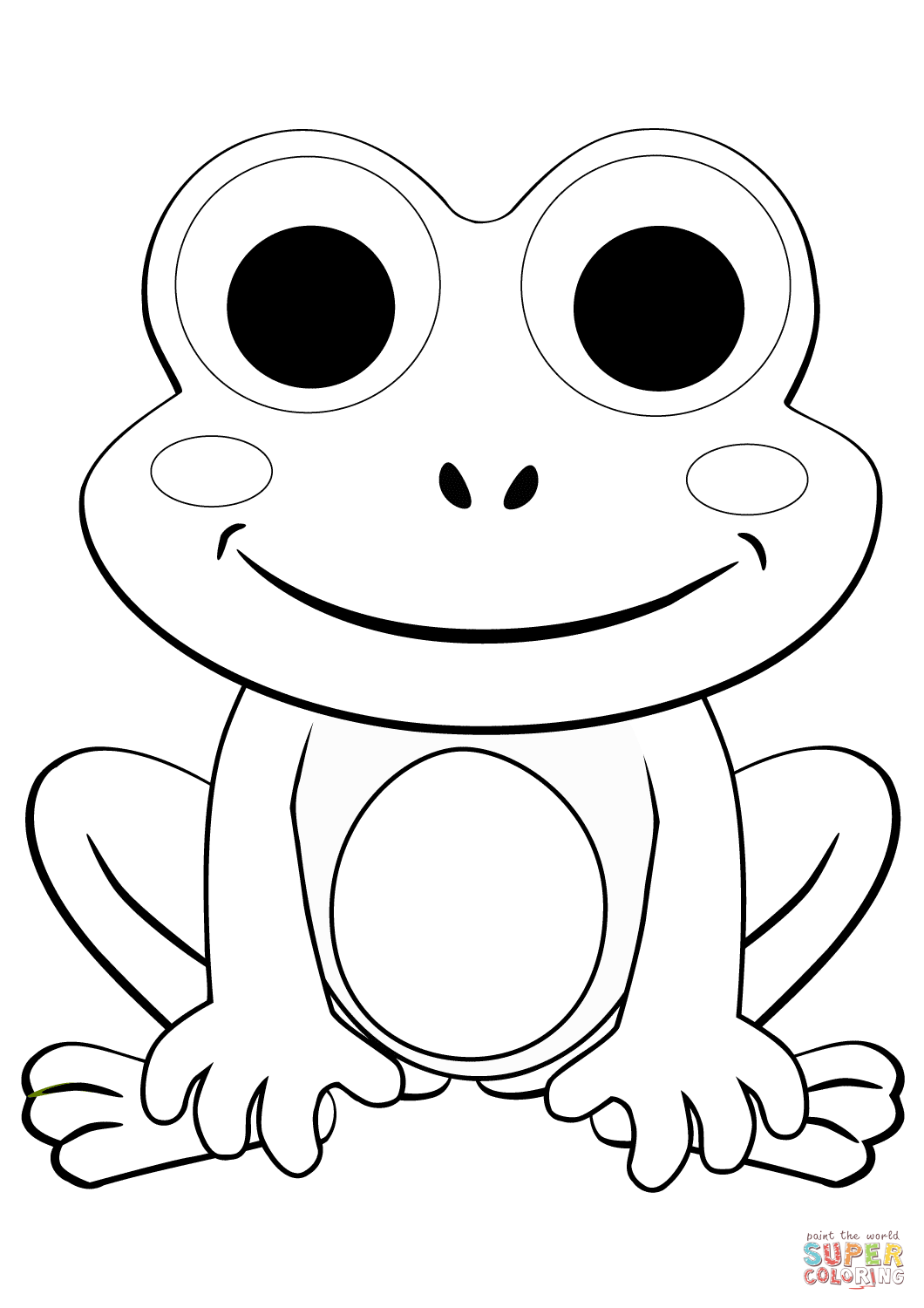 Cute Cartoon Frog coloring page | Free Printable Coloring ...