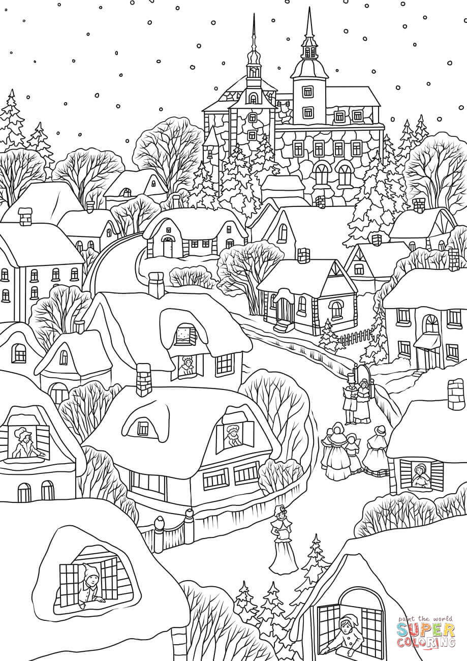 Village Coloring Pages Christmas Village Coloring Pages Free