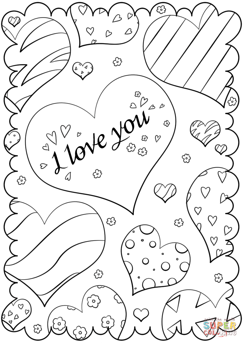 Valentines day card i love you coloring page free, love you coloring pages