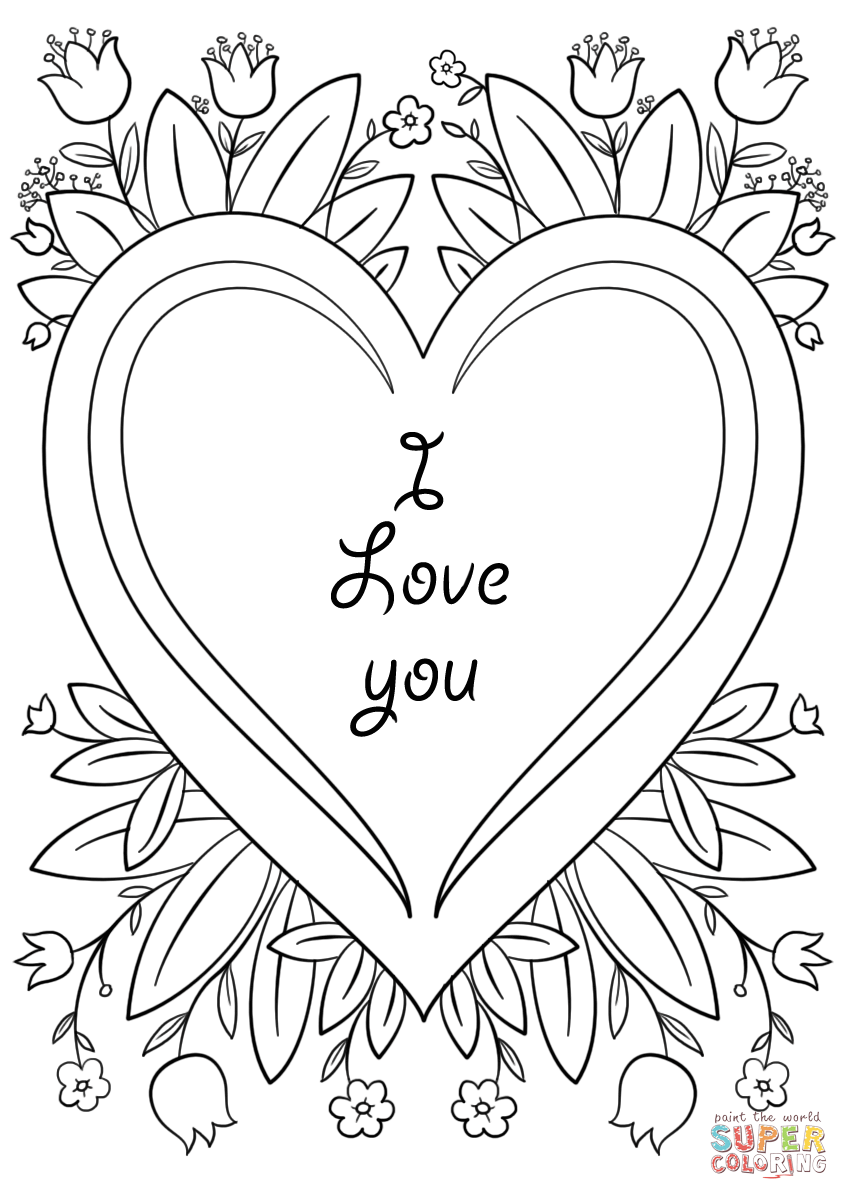 Valentines day card i love you coloring page free, coloring pages love you