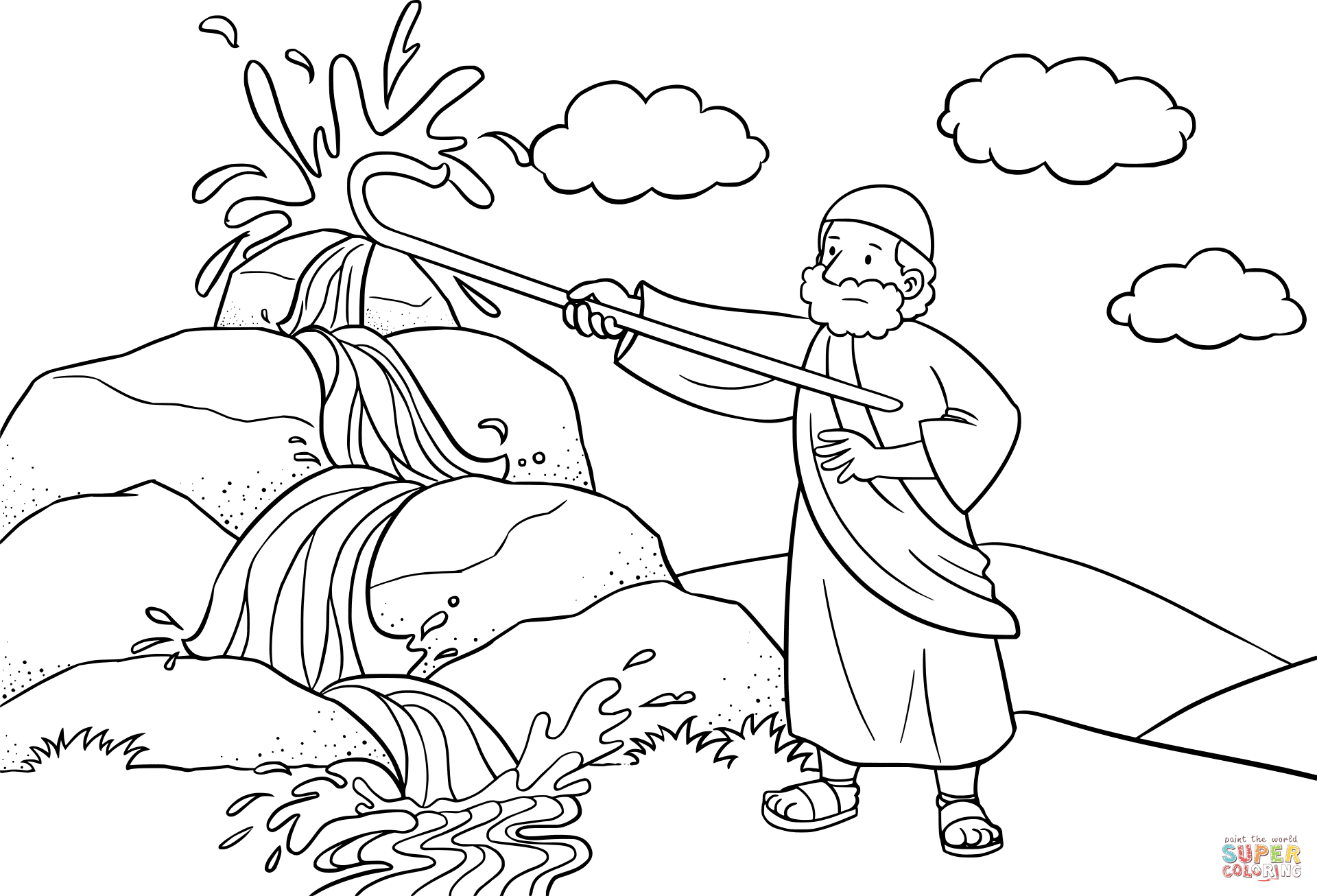 Moses Strikes The Rock With His Staff Coloring Page Free