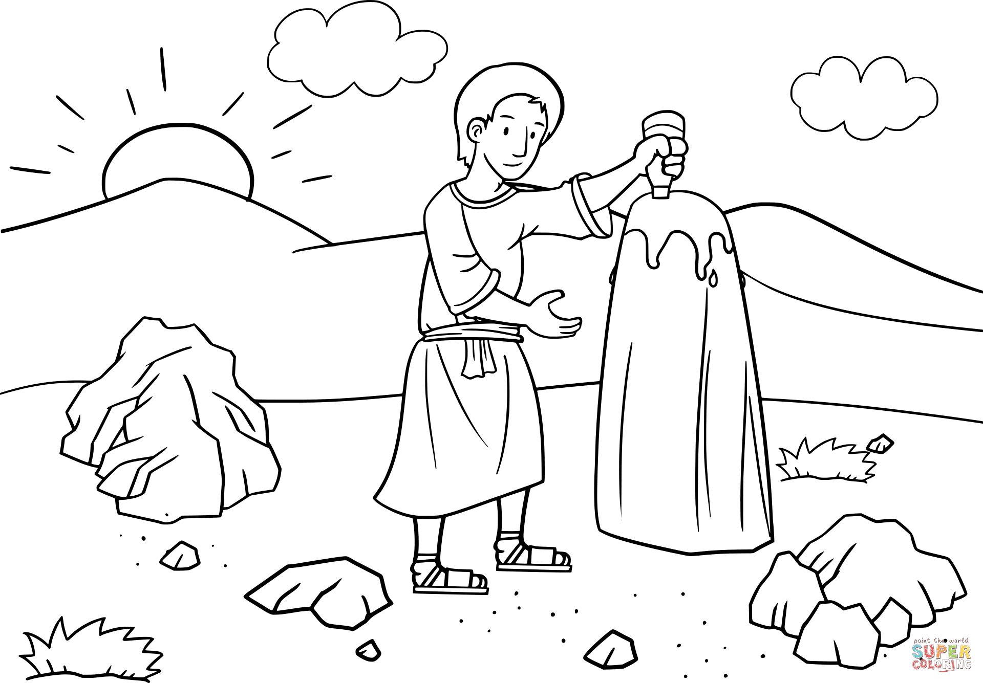 Jacob Anoints The Baetylus Stone With Oil Coloring Page Free