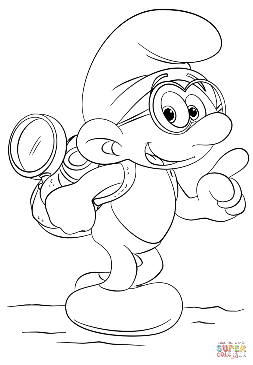 Brainy Smurf Coloring Page Free Printable Coloring Pages