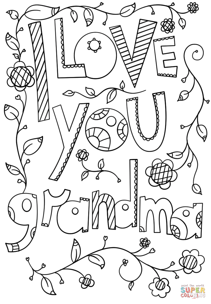 I love you grandma doodle coloring page free printable, love you coloring pages